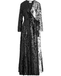 We Are Leone Sequined Crepe Wrap Gown - Black