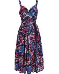 Marc Jacobs - Pleated Printed Stretch-cotton Poplin Midi Dress - Lyst
