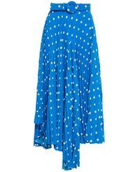 Balenciaga Asymmetric Belted Pleated Polka-dot Crepe Midi Skirt Cobalt Blue