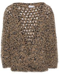 Brunello Cucinelli Sequined Open-knit Top Neutral - Multicolour