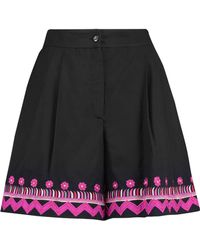 Temperley London - Fable Embroidered Pleated Cotton Shorts - Lyst