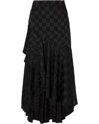 Temperley London Cyndie Satin-jacquard Midi Skirt Black