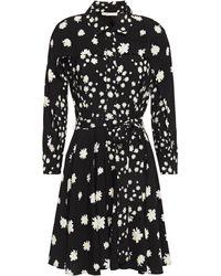 Maje Floral-print Crepe Mini Shirt Dress Black