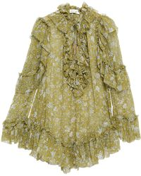 Zimmermann Rife Ruffle Pussy-bow Floral-print Silk-georgette Blouse Sage Green