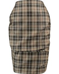 Vivienne Westwood Anglomania - Gathered Checked Wool Skirt - Lyst