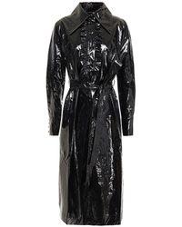 ALEXACHUNG Belted Vinyl Midi Dress - Black