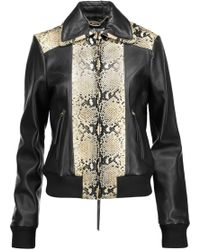 Just Cavalli - Paneled Smooth And Python-effect Leather Jacket - Lyst