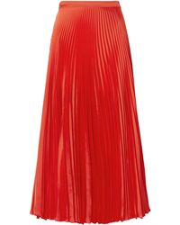 Stella McCartney Pleated Satin Midi Skirt - Red
