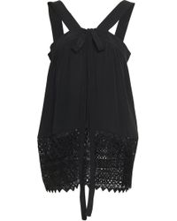N°21 Lace-up Guipure Lace And Crepe De Chine Top Black