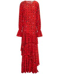 Preen Line Amina Tie Floral-print Crepe Maxi Dress - Red