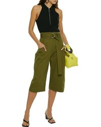 Proenza Schouler Belted Cotton-twill Shorts - Green