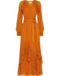 Diane von Furstenberg Mercy Ruffled Printed Silk-georgette Maxi Wrap Dress - Orange