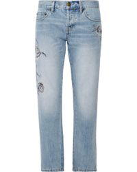 Cheap Big Sale Buy Cheap Official Site Current/elliott Woman The Crossover Distressed Mid-rise Straight Leg Jeans Mid Denim Size 30 Current Elliott A6cac