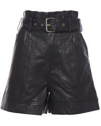 Walter Baker Velda Belted Gathered Leather Shorts - Black