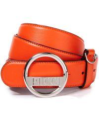 Emilio Pucci Logo-embellished Leather Belt Bright Orange