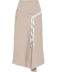 Tibi Kaia Asymmetric Cotton-blend Poplin Midi Skirt - Multicolour