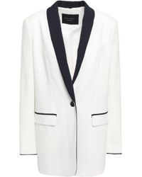 Equipment Two-tone Crepe Blazer White