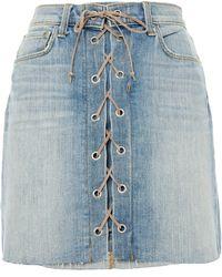 L'Agence Faded Denim Mini Skirt Light Denim - Blue