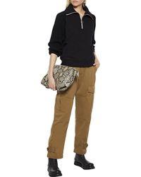 NAADAM Ribbed Knit-paneled Cotton And Cashmere-blend Fleece Sweatshirt - Black
