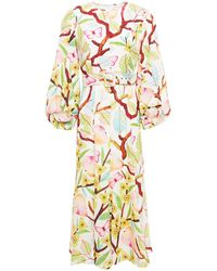 Andrew Gn Belted Printed Silk Crepe De Chine Midi Dress - White