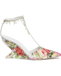 Zimmermann Embellished Woven Raffia Wedge Court Shoes Pink