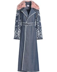Cinq À Sept Shearling-trimmed Embroidered Denim Trench Coat Indigo - Blue