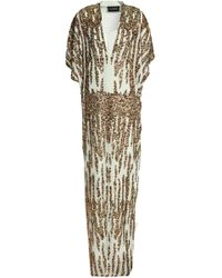 By Malene Birger Sequined Crepe De Chine Gown Green