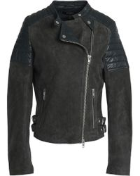 Muubaa - Paneled Suede And Leather Biker Jacket - Lyst