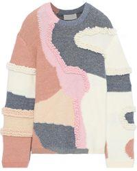 Peter Pilotto Patchwork-effect Metallic Cotton-blend Bouclé Sweater White