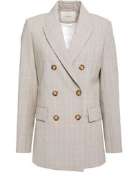 Maje Double-breasted Prince Of Wales Checked Woven Blazer Neutral - Multicolour