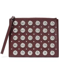Versus Studded Leather Pouch Burgundy - Purple