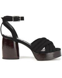 McQ Rise Quilted Suede Platform Sandals Black