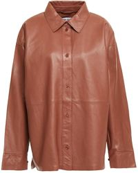 Stand Studio Dee Oversized Leather Shirt - Brown