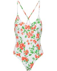 Caroline Constas Open-back Floral-print Swimsuit - White