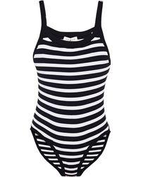 Sandro Marine Striped Ribbed Jersey Bodysuit - Black