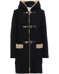 Sandro Faux Shearling-trimmed Wool-blend Felt Coat Black