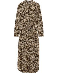 YOLKE Belted Leopard-print Cotton-poplin Nightdress Animal Print - Multicolor