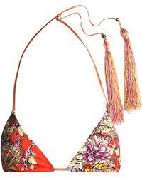 Just Cavalli - Floral-print Triangle Bikini Top - Lyst
