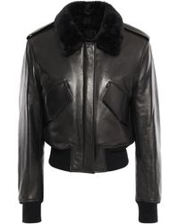 Alexander Wang Shearling-trimmed Leather Bomber Jacket Black