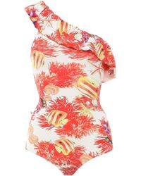 Isolda Ruffled Printed One-shoulder Swimsuit Coral - Multicolour