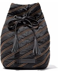 Brunello Cucinelli - Leather-trimmed Bead-embellished Shell Bucket Bag - Lyst