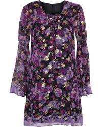 Anna Sui - Metallic Printed Silk-blend Fil Coupé Mini Dress Purple - Lyst