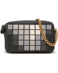 Anya Hindmarch Giant Pixel Appliquéd Suede And Leather Shoulder Bag Charcoal - Gray