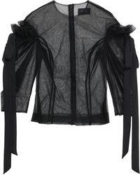 Simone Rocha Cutout Bow-detailed Tulle Blouse Black