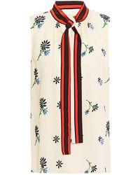 Tory Burch Tie-neck Embroidered Crepon Top Cream - Multicolour