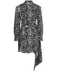 Redemption Draped Zebra-print Cotton-blend Twill Mini Shirt Dress Animal Print - Black