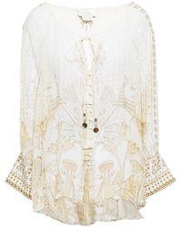 Camilla Crystal-embellished Printed Silk-crepon Blouse - White