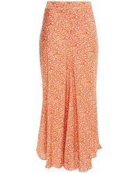 Vanessa Bruno Printed Twill Midi Skirt - Orange