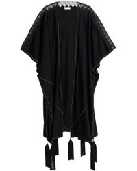 Vionnet - Lace-trimmed Tasseled Silk-blend Cape - Lyst