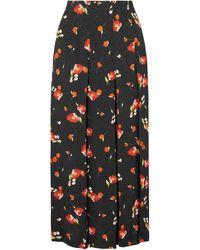 Vilshenko Keeley Pleated Floral-print Crepe-jacquard Skirt - Black